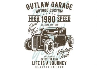Outlaw Garage print ready vector t shirt design