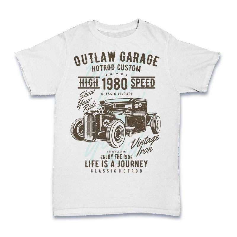 Outlaw Garage t shirt designs for printify