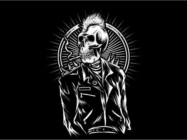 Punk Skull t shirt illustration