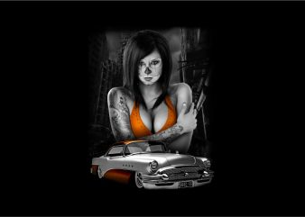 Sexy Girl with Classic Car graphic t-shirt design