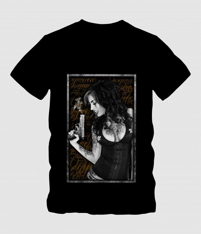 Sexy Ladies Handling Gun t shirt design graphic