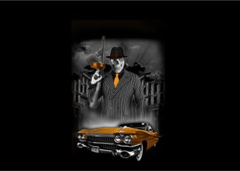Skull Gangster Mafia with Car t-shirt design for commercial use