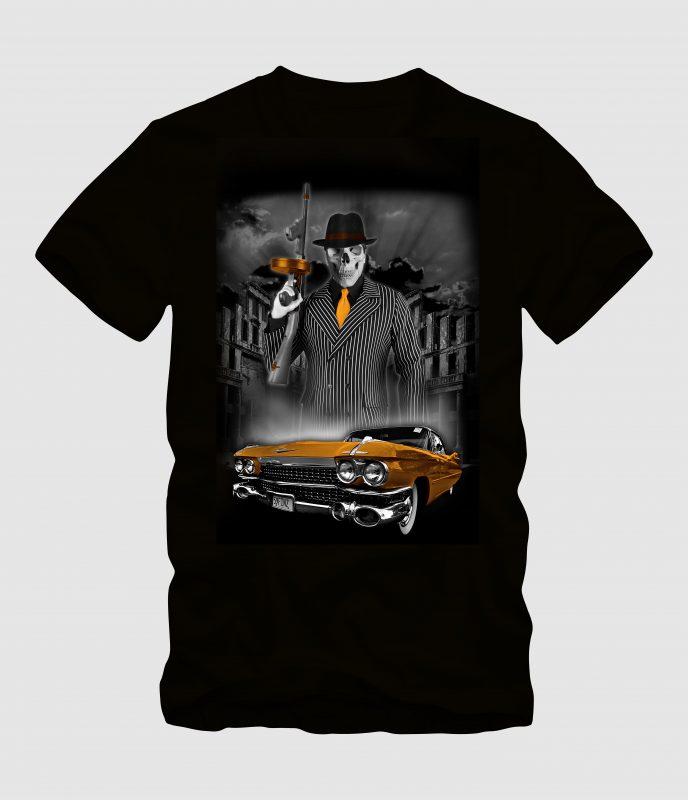 Skull Gangster Mafia with Car buy tshirt design