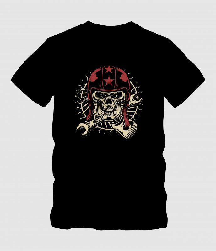 Skull with Red Helmet t-shirt designs for merch by amazon