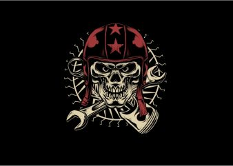 Skull with Red Helmet t shirt template vector