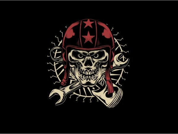 Skull with Red Helmet t shirt design for purchase