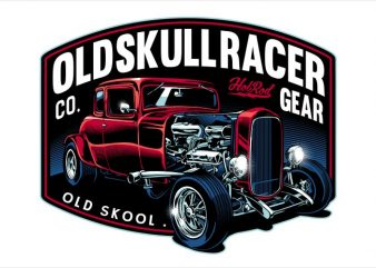 Old skull racer tshirt design vector