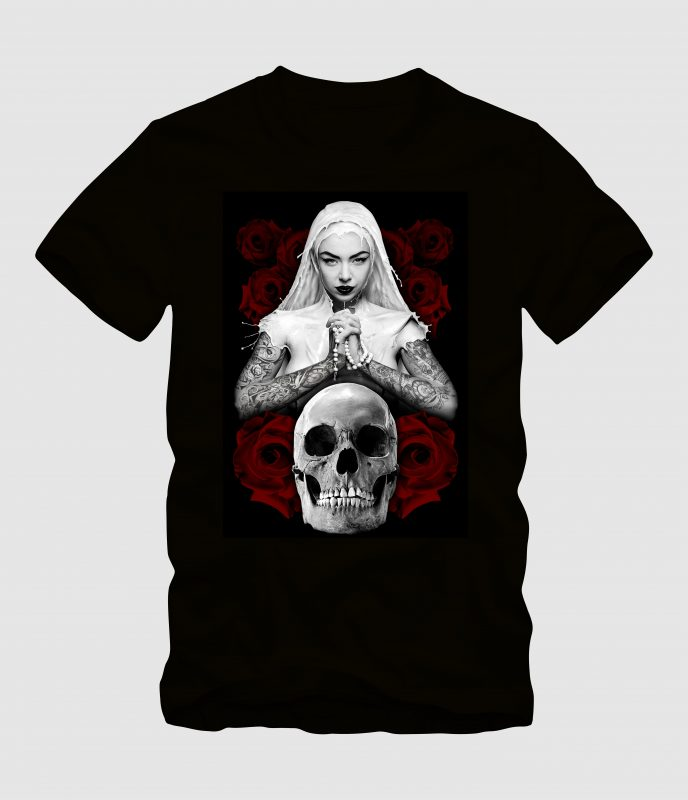 The Nun Praying with Skull t shirt designs for printful