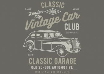 Vintage London Car buy t shirt design artwork