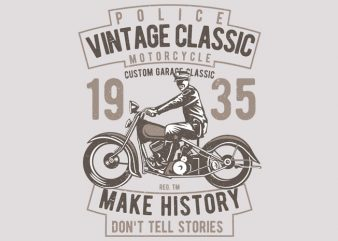 Vintage Police Classic vector t-shirt design