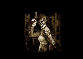 Woman with Skull Head Handling Pistol graphic t-shirt design