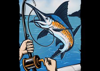 Marlin Fishing t shirt design to buy