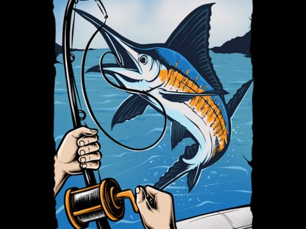 Marlin Fishing t shirt designs for sale