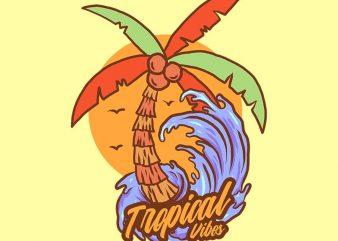 coconut tree tshirt design