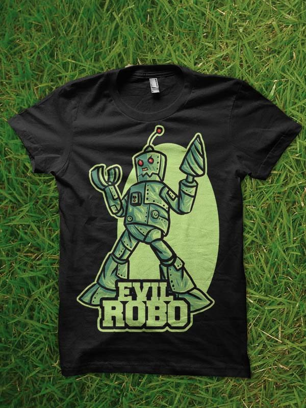 evil robo tshirt design t shirt designs for printful