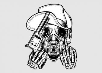 skull wearing a hat holding a gun t shirt template vector