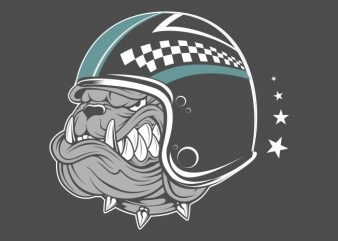 bulldog wearing helmet graphic t-shirt design