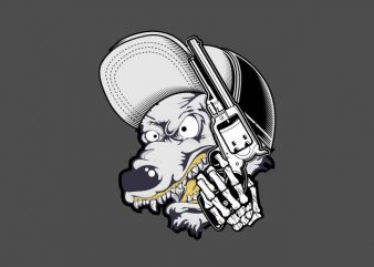 wolf wearing cap and holding gun t shirt design for sale