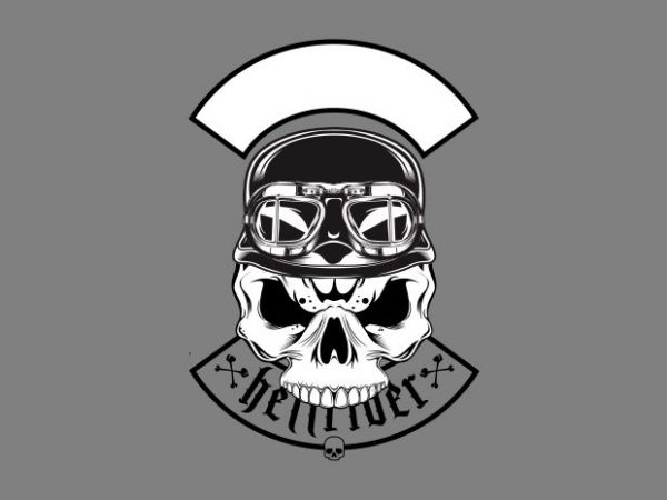 skull wearing retro helme t shirt template vector