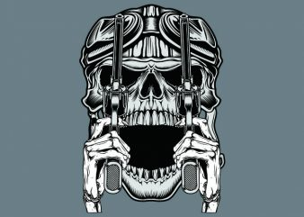 vintage skull t shirt vector art