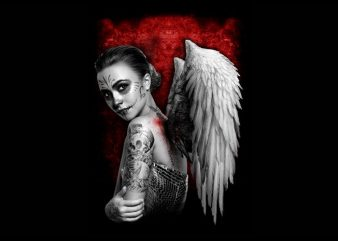 angel women with wing t shirt vector