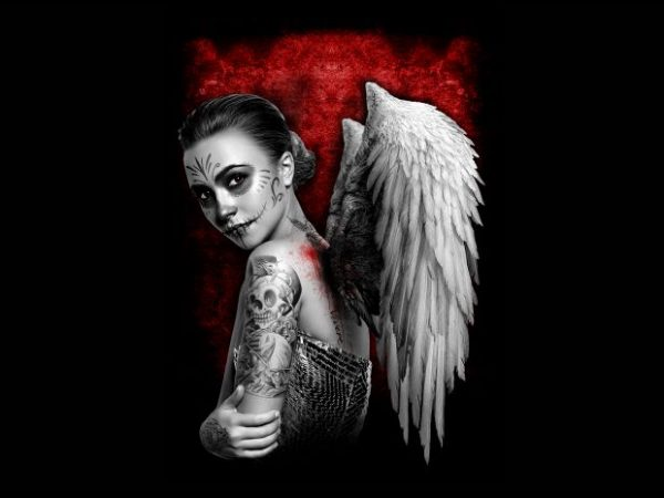 angel women with wing t-shirt design for sale