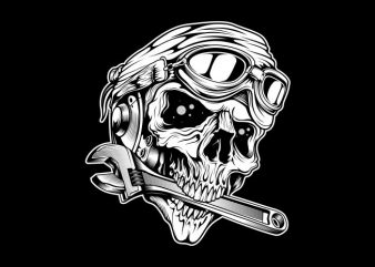 skull bites the wrench t shirt template vector