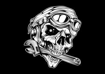 skull bites the wrench t shirt design for sale