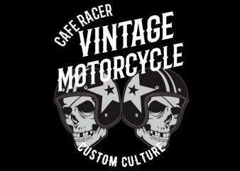 vintage motor cycle t shirt vector art