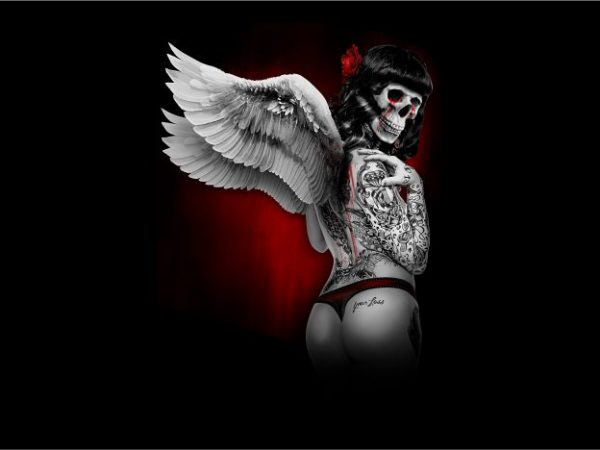 skull angel with wings shirt design png