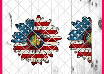 Flower America Flag Design PNG T shirt 4th of July | Daisy America Flag, Sunflower America Flag T shirt Design