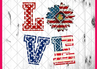 4th of July Love Flower America Flag Deisng PNG T shirt | Love America Daisy Peace PNG T shirt