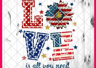 4th of July Love Flower America Flag Deisng PNG T shirt | Love is All You Need America Daisy Peace PNG T shirt