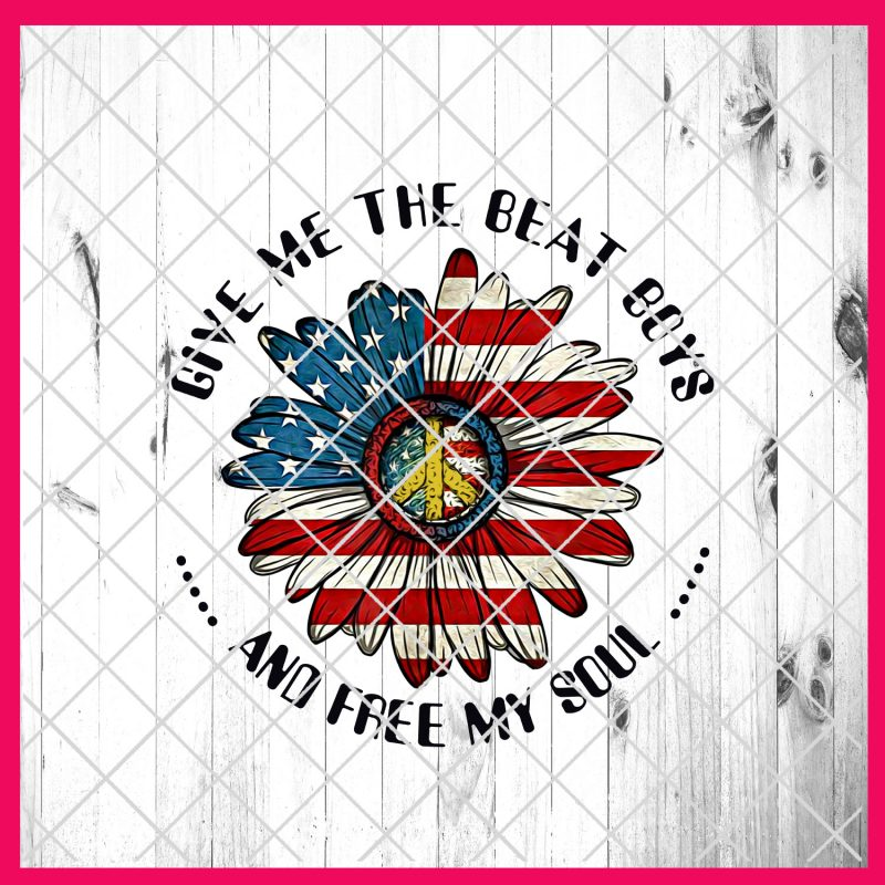 Give me the beat boys and free my soul flower designs PNG T shirt 4th Of July PNG Independence Day png Patriotic png American Flag SVG tshirt-factory.com