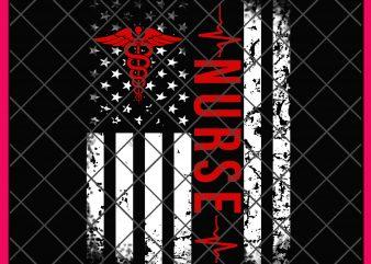 Nurse America Flag Heartbeat red line T shirt design PNG 4th of july nurse usa flag