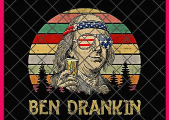 Vintage Ben Drankin 4th of July Funny Design PNG T shirt Gifts – Benjamin Franklin Drinking digital download