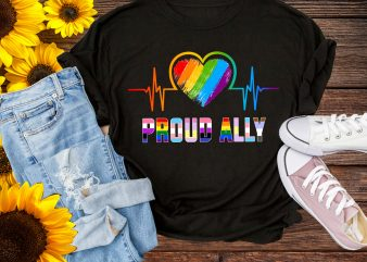 Proud Ally Rainbow Heartbeat LGBT Pride T shirt – Pride 50th Stonewall 1969