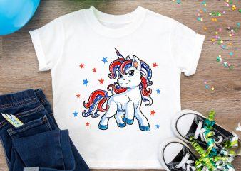 Unicorn merica 4th of jule america flag t shirt design PNG