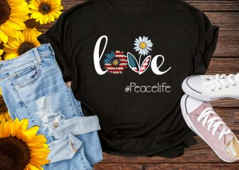 Love Peace Flower America Flag 4th of July T shirt design – Love Peace life Daisy USA flag PNG Design