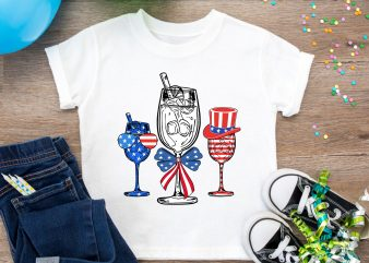 Glass Red White Blue America Flag 4th of July Design PNG Gifts T shirt