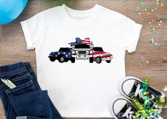 Jeep Car Red Blue White America Flag Design PNG Tshirt, 4th Of July 2019 Jeep Design