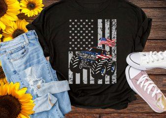 4th of July Truck America Flag Design T shirt – Truck Dad USA Flag