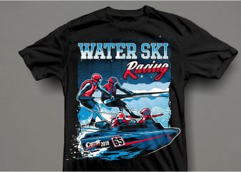Water ski t shirt design for sale
