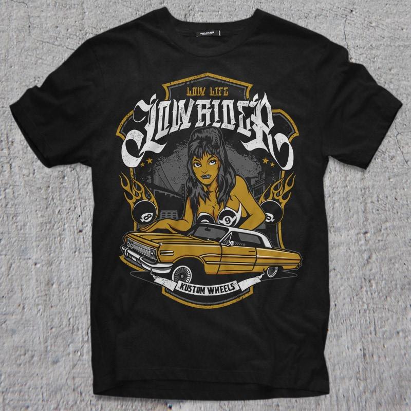 LOWRIDER tshirt designs for merch by amazon