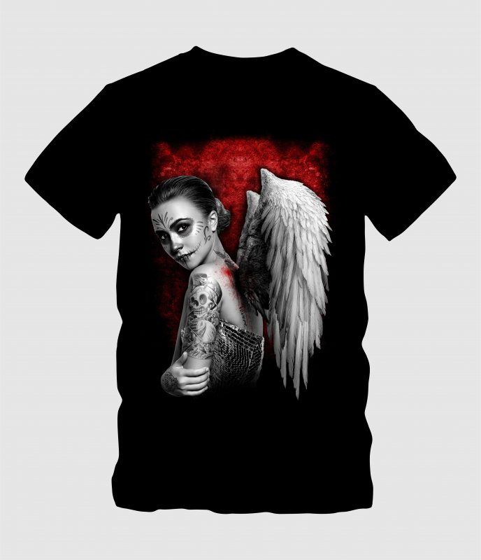 angel women with wing vector t shirt design