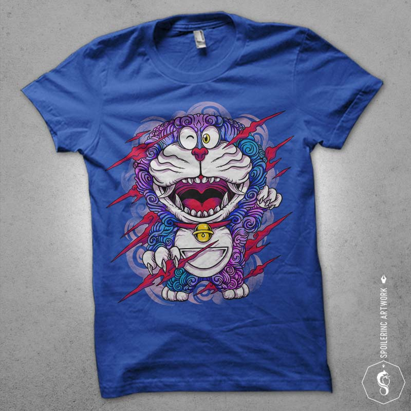 wild neko Graphic t-shirt design tshirt-factory.com