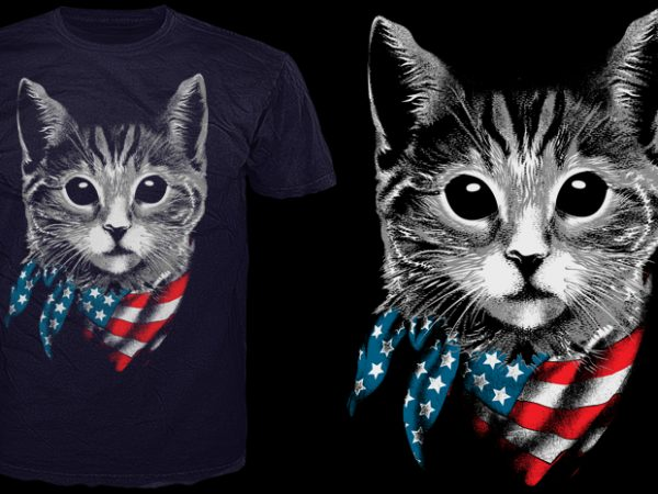 4th july Cat present vector t-shirt design for commercial use