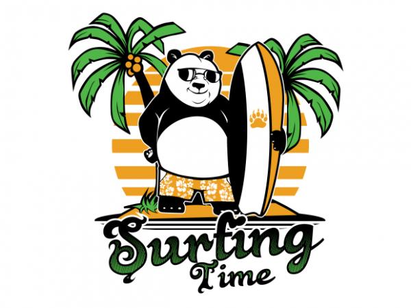panda surfing t shirt illustration