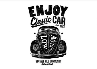 Enjoy Classic Car t shirt design to buy