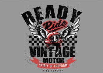 Vintage motor helmet t shirt vector art